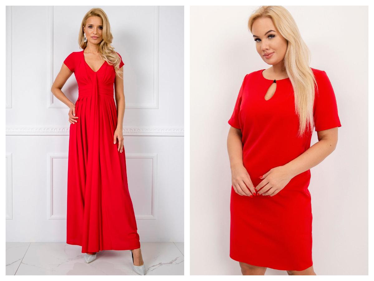 Czerwona sukienka mini i czerwona sukienka maxi plus size na wesele
